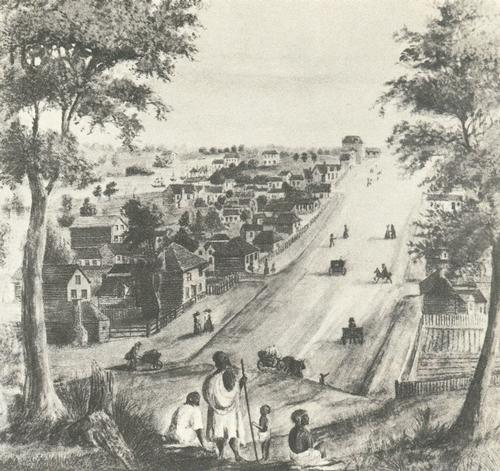 Colin Street in Melbourne rond 1839 Foto:Publiek domein
