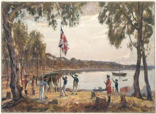 Capt. Arthur Phillip plant vlag in Syney Cove