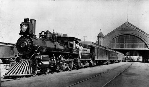 Station Southern Pacific Spoorweg in Los angeles in 1891 Foto:Publiek Domein