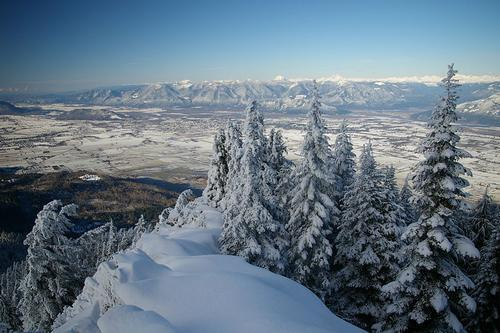 Winterlandschap vanaf Elk Mountain in British Columbia Winter foto: Tim Gage
