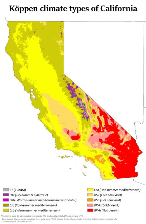 Klimaattypes Californië