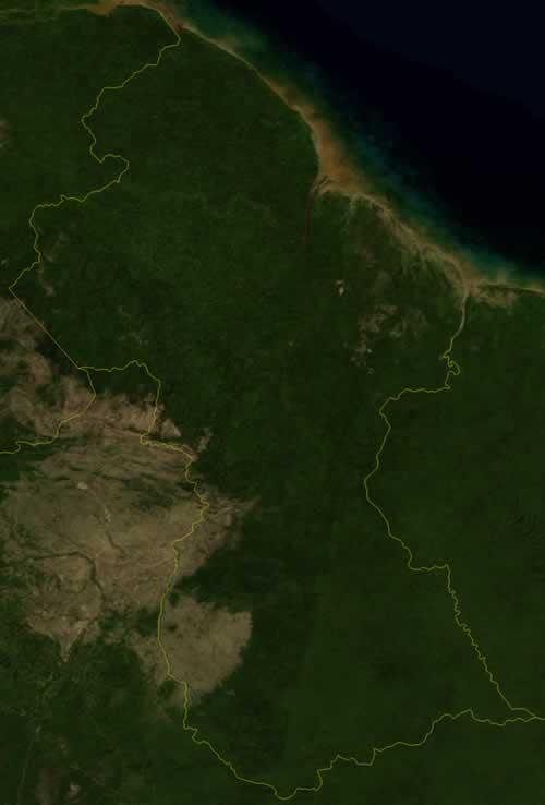 Guyana Satellietfoto foto: NASA