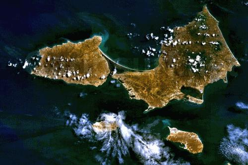 Isla Margerita Satellietfoto foto: NASA