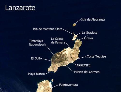 Lanzarote Satellietfoto foto: NASA