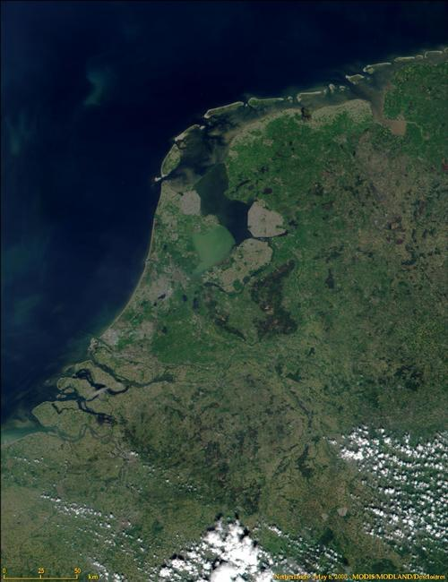 Nederland Satellietfoto fot: NASA