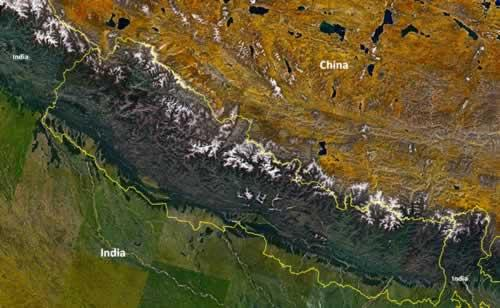 Nepal Satellietfoto foto: NASA