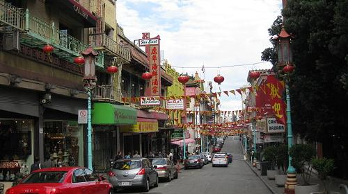 Chinese en Engelse namen in Chinatown San Francisco, Verenigde Staten
