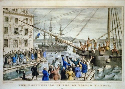 Destruction of Tea at Boston Harbor 1846 Foto:Publiek Domein